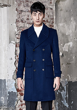 [206 HOMME]2016-17 F/W NEW COLLECTIONHAND-MADE™ UTILITY BLUE DOUBLE COAT(CASHMERE 20% + WOOL 80%)(CT-159)