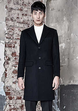 [206 HOMME]2016-17 F/W NEW COLLECTIONHAND-MADE™ HOSI-STICH BLACK 3-BUTTON COAT(CASHMERE 20% + WOOL 80%)(CT-164)